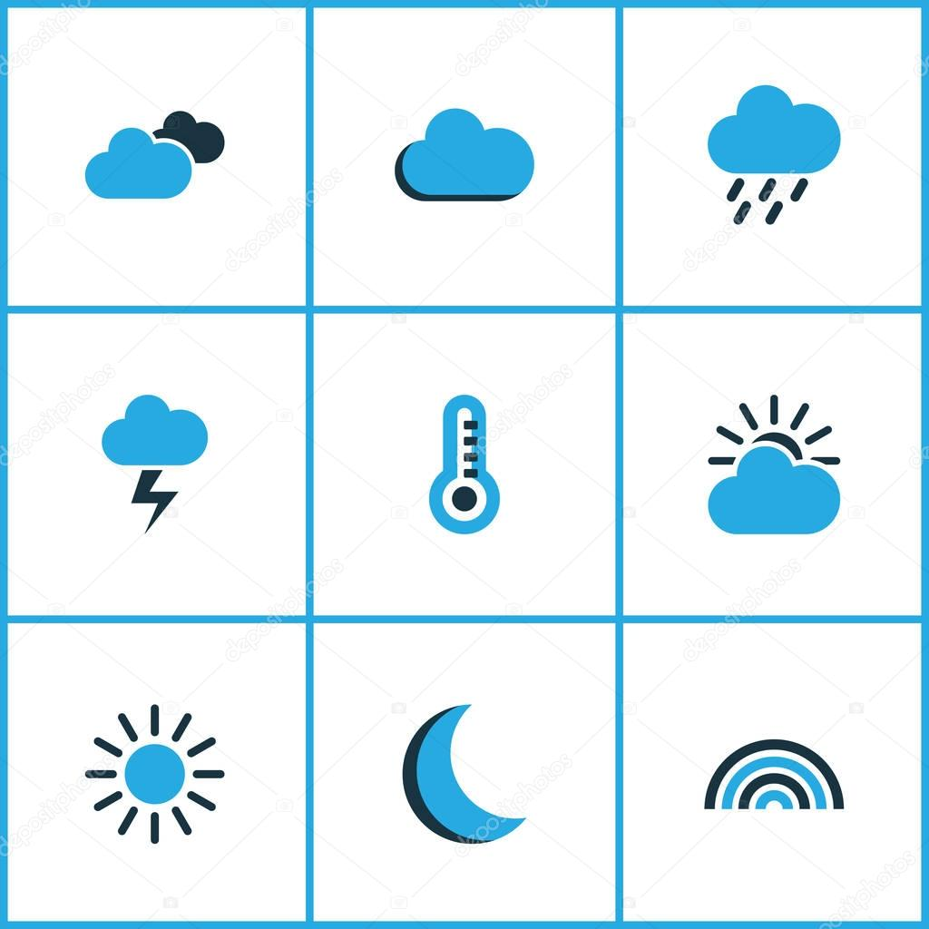 Weather Colored Icons Set. Collection Of Night, Sunny, Fog And Other Elements. Also Includes Symbols Such As Drizzle, Thermometer, Overcast.