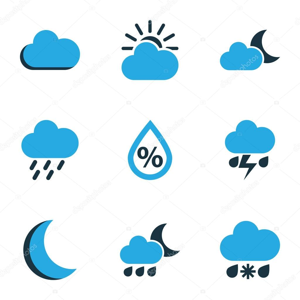Meteorology Colored Icons Set. Collection Of Thunderstorm, Drizzle, Moonshine And Other Elements. Also Includes Symbols Such As Fog, Thunderstorm, Cloudy.