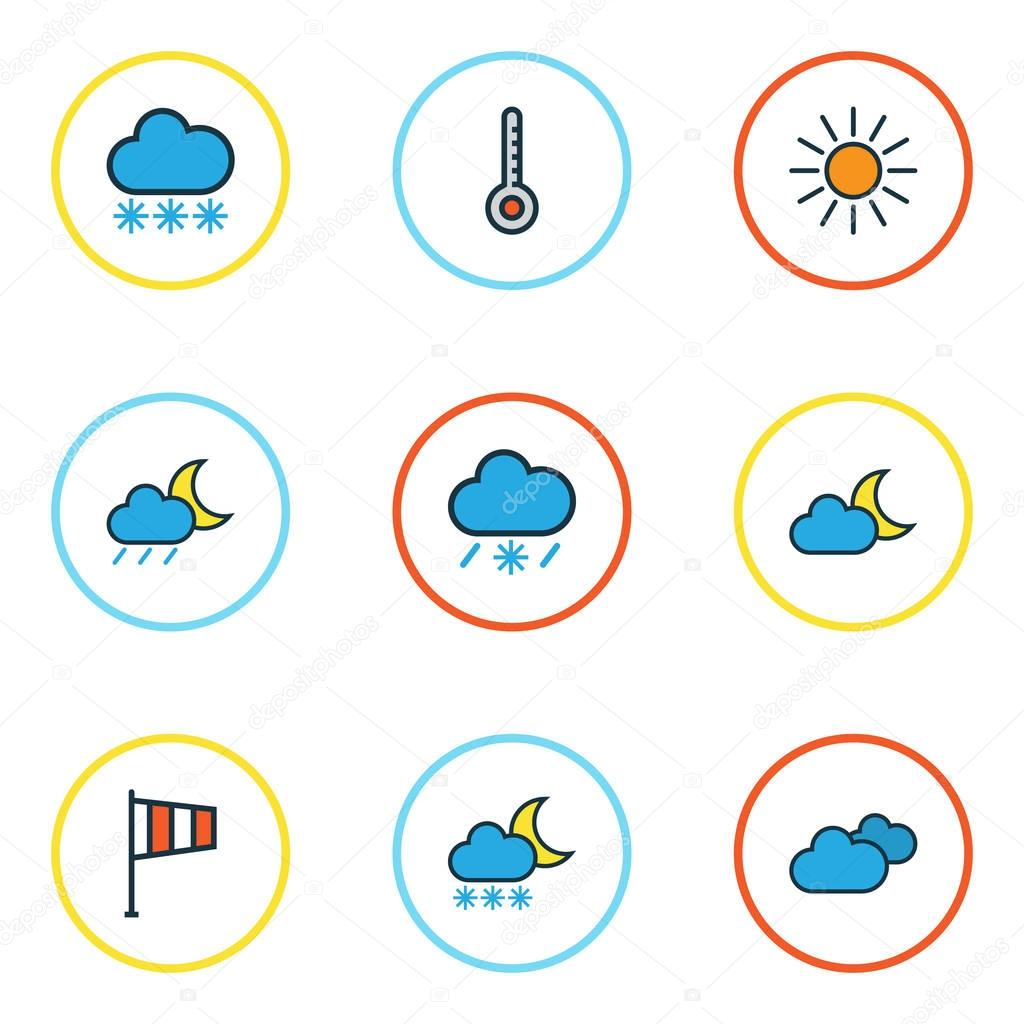 Meteorology Colored Outlines Set. Collection Of Twilight, Freeze, Flag And Other Elements. Also Includes Symbols Such As Thermometer, Sunshine, Snow.