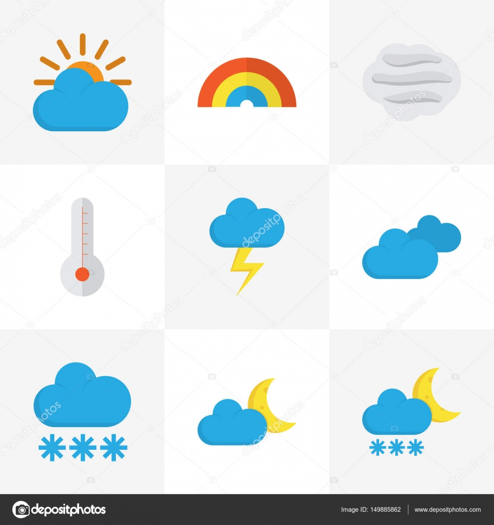 Weather Flat Icons Set Collection Of Temperature Windy Snow And