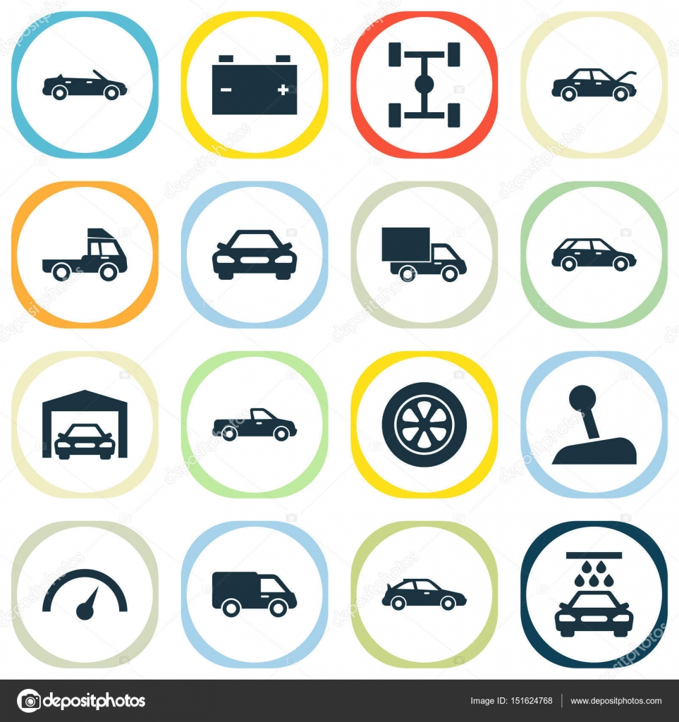 Car icons set collection of wheelbase transport cleaning car icons set collection of wheelbase transport cleaning hatchback and other elements also includes symbols such as hood sports repairing biocorpaavc Gallery
