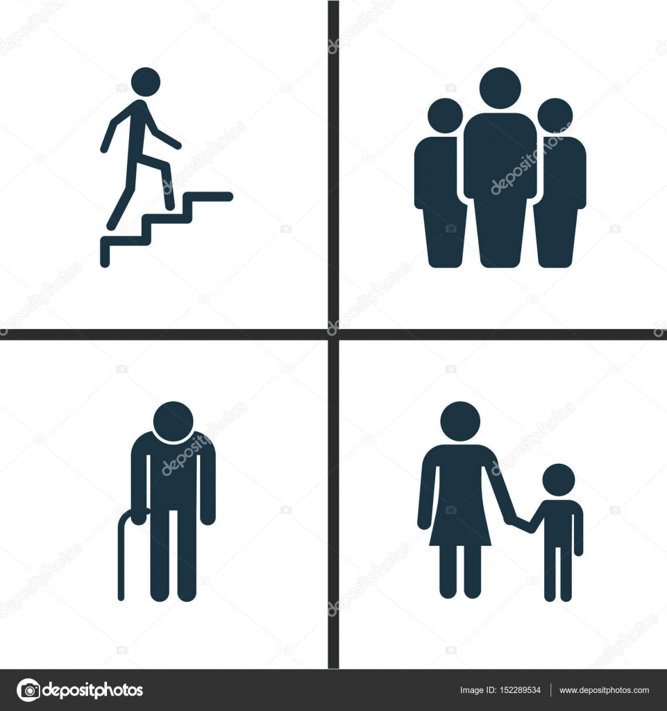 People Icons Set Collection Of Ladder Family Group And Other