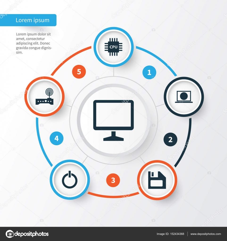 Computer-Icons Set. Sammlung von einschalten, Motherboard, Router ...