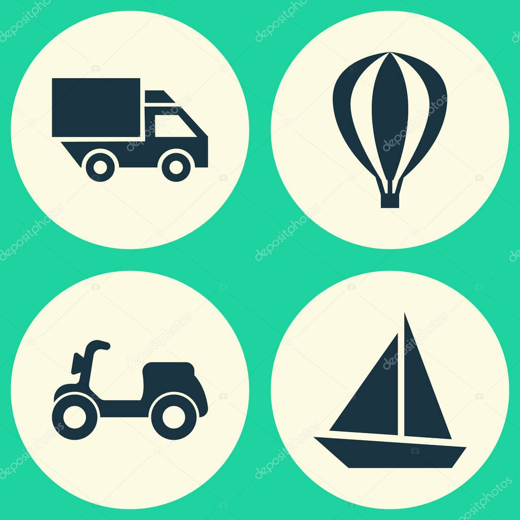 Transportation Icons Set. Collection Of Skooter, Van, Yacht And Other Elements. Also Includes Symbols Such As Air, Scooter, Truck.