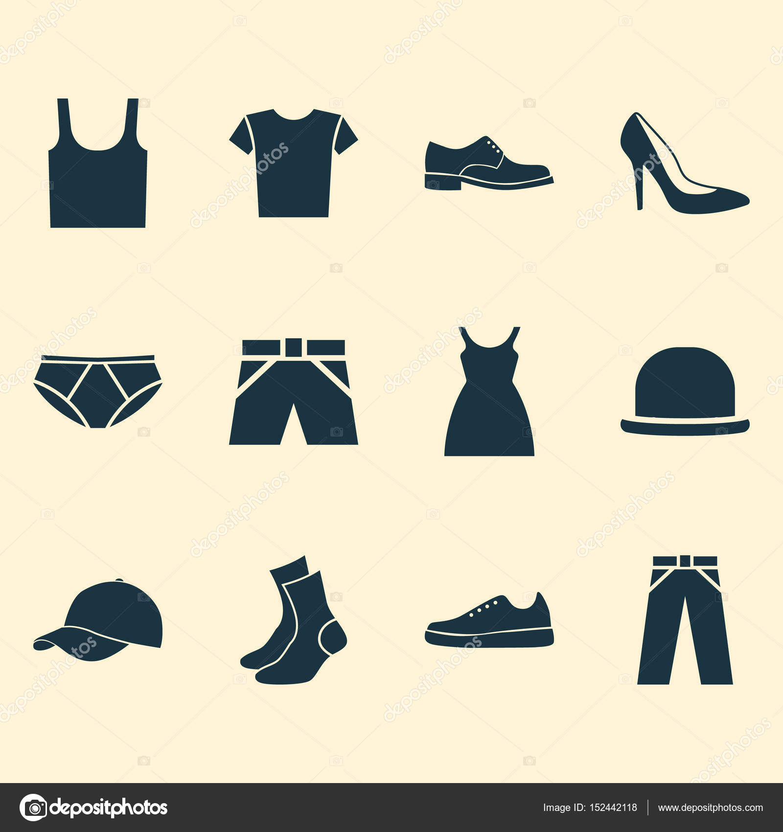60f07b4c Clothes Icons Set. Collection Of Pants, Dress, Trilby And Other Elements.  Also Includes Symbols Such As Socks, Shoes, Trunks. — Vector by ...