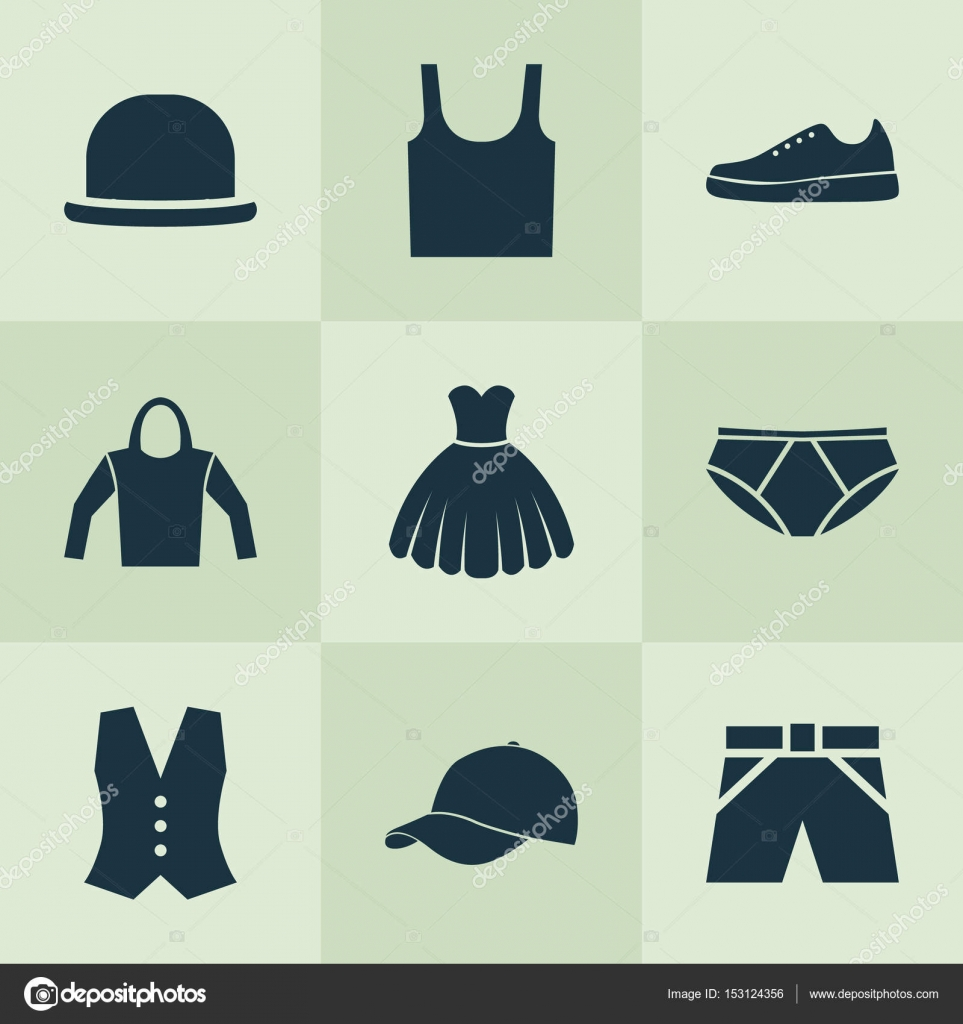 c5a3e643 Garment Icons Set. Collection Of Singlet, Trilby, Briefs And Other  Elements. Also Includes Symbols Such As Hoodie, Singlet, Briefs. — Vector  by ...