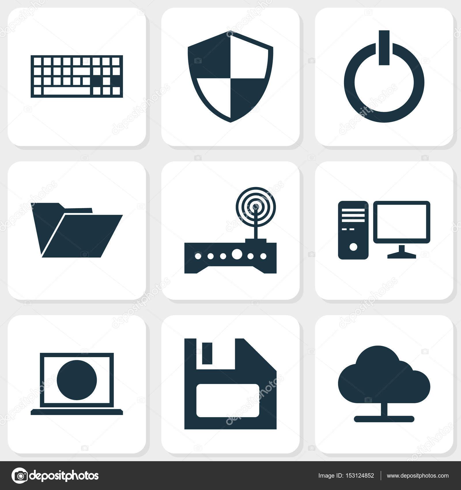 Computer-Icons Set. Sammlung von einschalten, Dossier, Verteidigung ...
