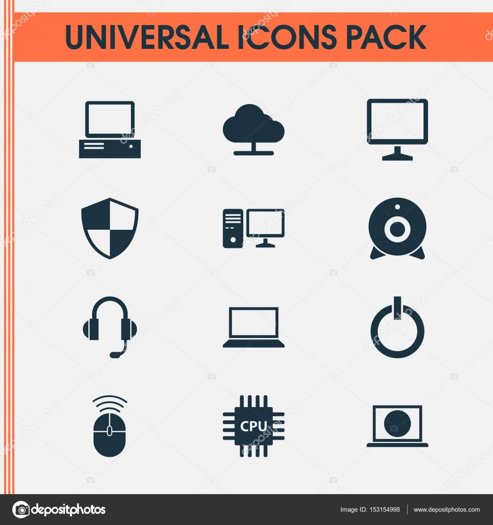 Notebook Icons Set. Sammlung von einschalten, Broadcast, Monitor und ...