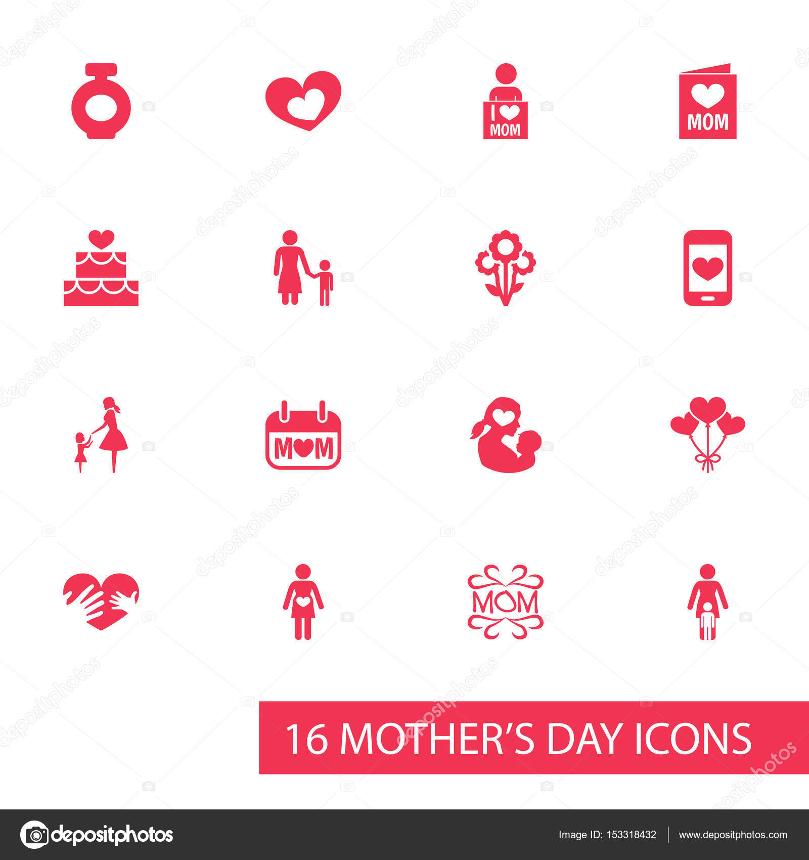 Mothers day icon design concept set of 16 such elements as set of 16 such elements as cellphone madame and pregnancy beautiful symbols for daughter text and bouquet vector by aalbedouinail buycottarizona