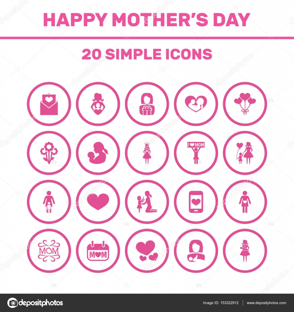 Mothers day icon design concept set of 20 such elements as set of 20 such elements as daughter placard and protect beautiful symbols for love lady and pregnancy vector by aalbedouinail buycottarizona