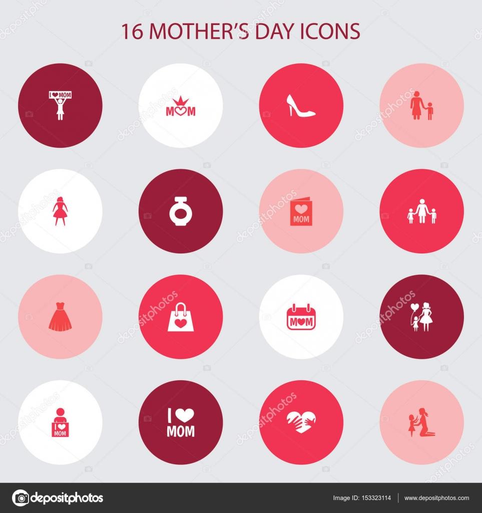Concepto de diseño de icono de día de las madres. Conjunto de 16 ...