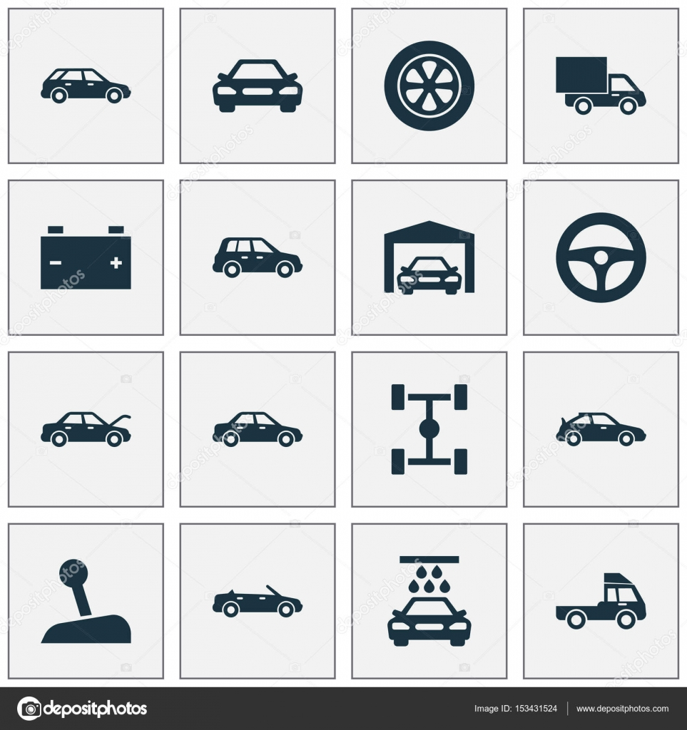 Auto Icons Set  Collection Of Transport Cleaning