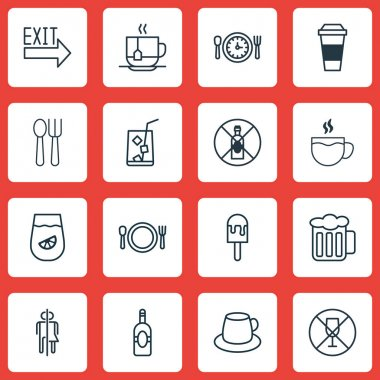 Set Of 16 Meal Icons. Includes Cutlery, Lolly, Coffee Cup And Other Symbols. Beautiful Design Elements.