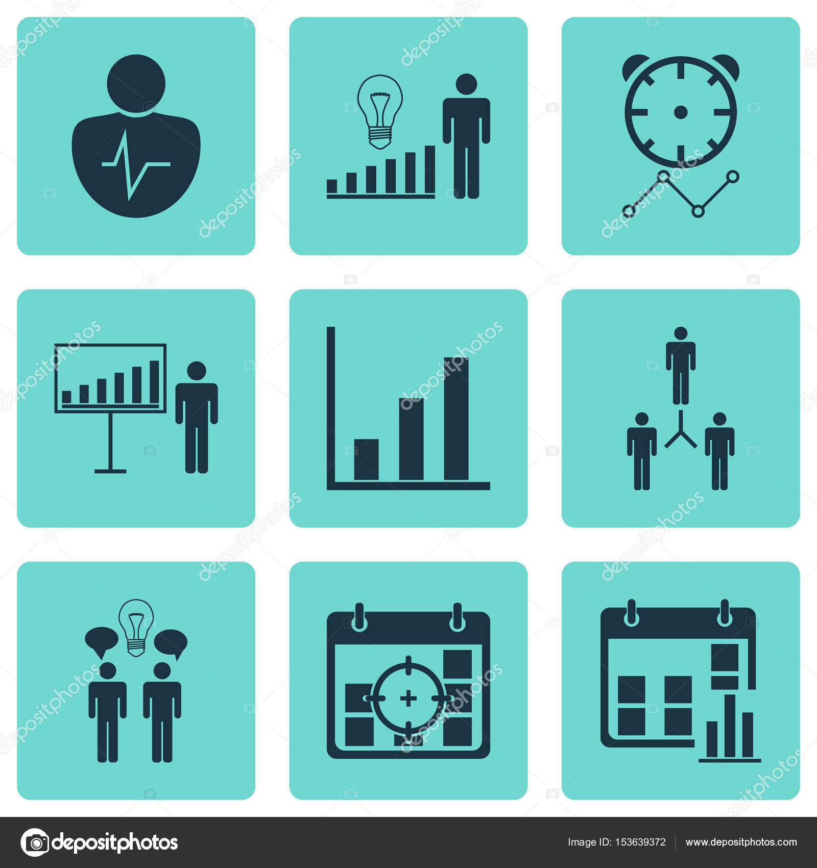 Set Of 9 Administration Icons. Includes Project Targets, Project ...