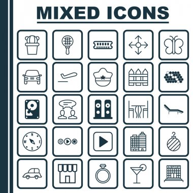 Set Of 25 Universal Editable Icons. Can Be Used For Web, Mobile And App Design. Includes Elements Such As Christmas Ball, Song UI, Airfield Manufacture And More.