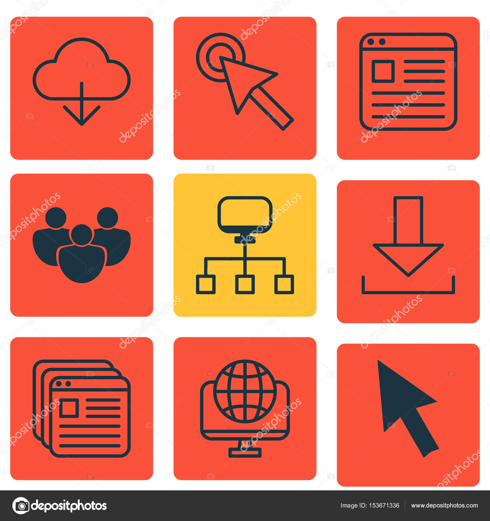 Set Of 9 Internet Icons Includes Save Data Website Page Local