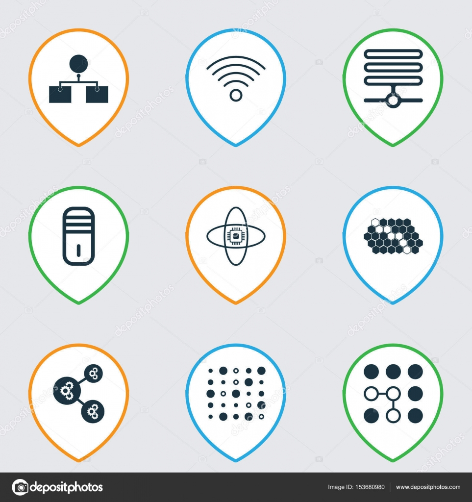 Set Of 9 Robotics Icons Includes Wireless Communications Atomic
