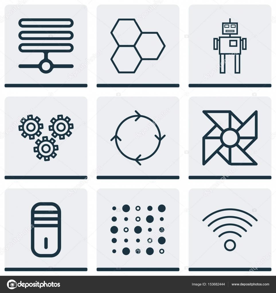 Set de 9 iconos de rob tica incluye programa de for Programas de arquitectura y diseno