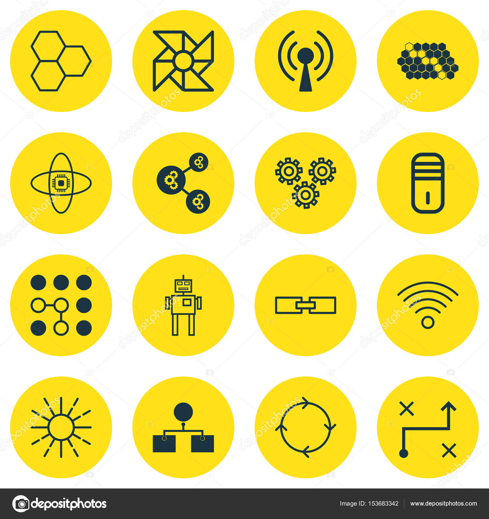 Set Of 16 Robotics Icons Includes Recurring Program Solution