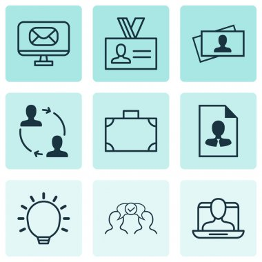 Set Of 9 Business Management Icons. Includes Email, Cooperation, Calling Card And Other Symbols. Beautiful Design Elements.
