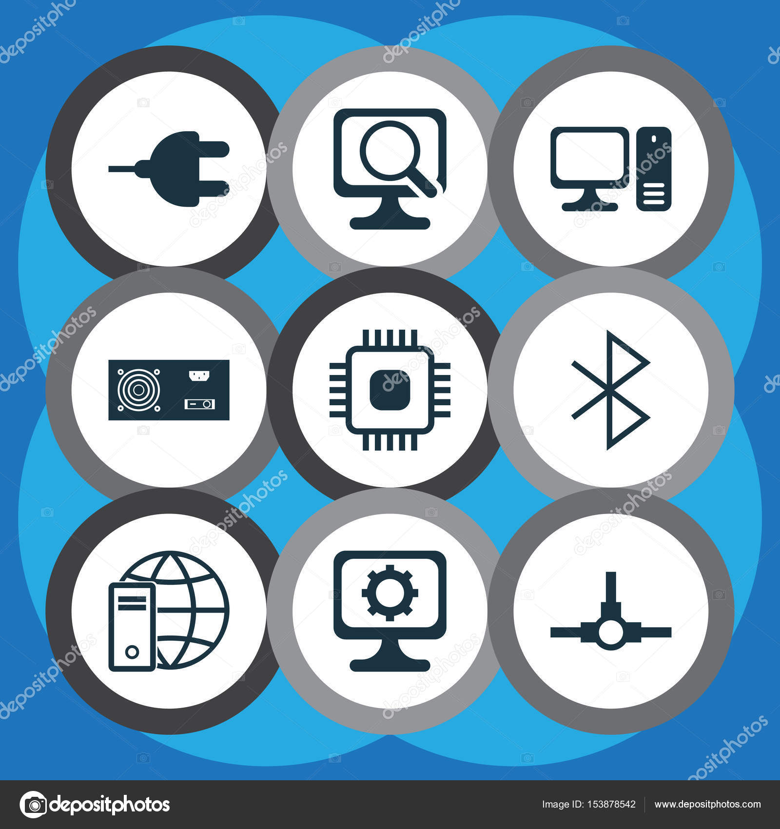 Set Of 9 Computer Hardware Icons Includes Power Generator