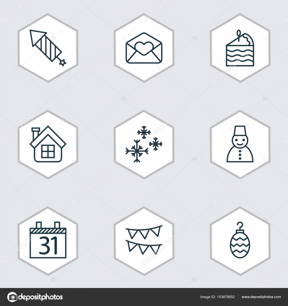Set Of 9 Holiday Icons Includes Date Greeting Email Residential