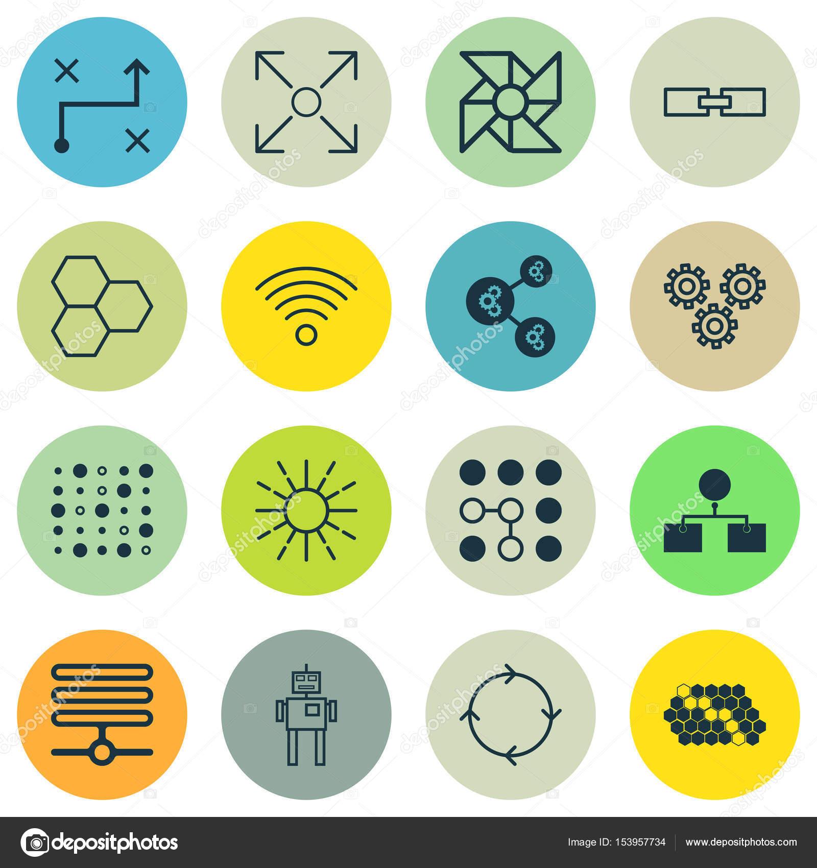 Satz von 16 Robotik-Icons. Enthält Komponenten, Cyborg, Hive Muster ...