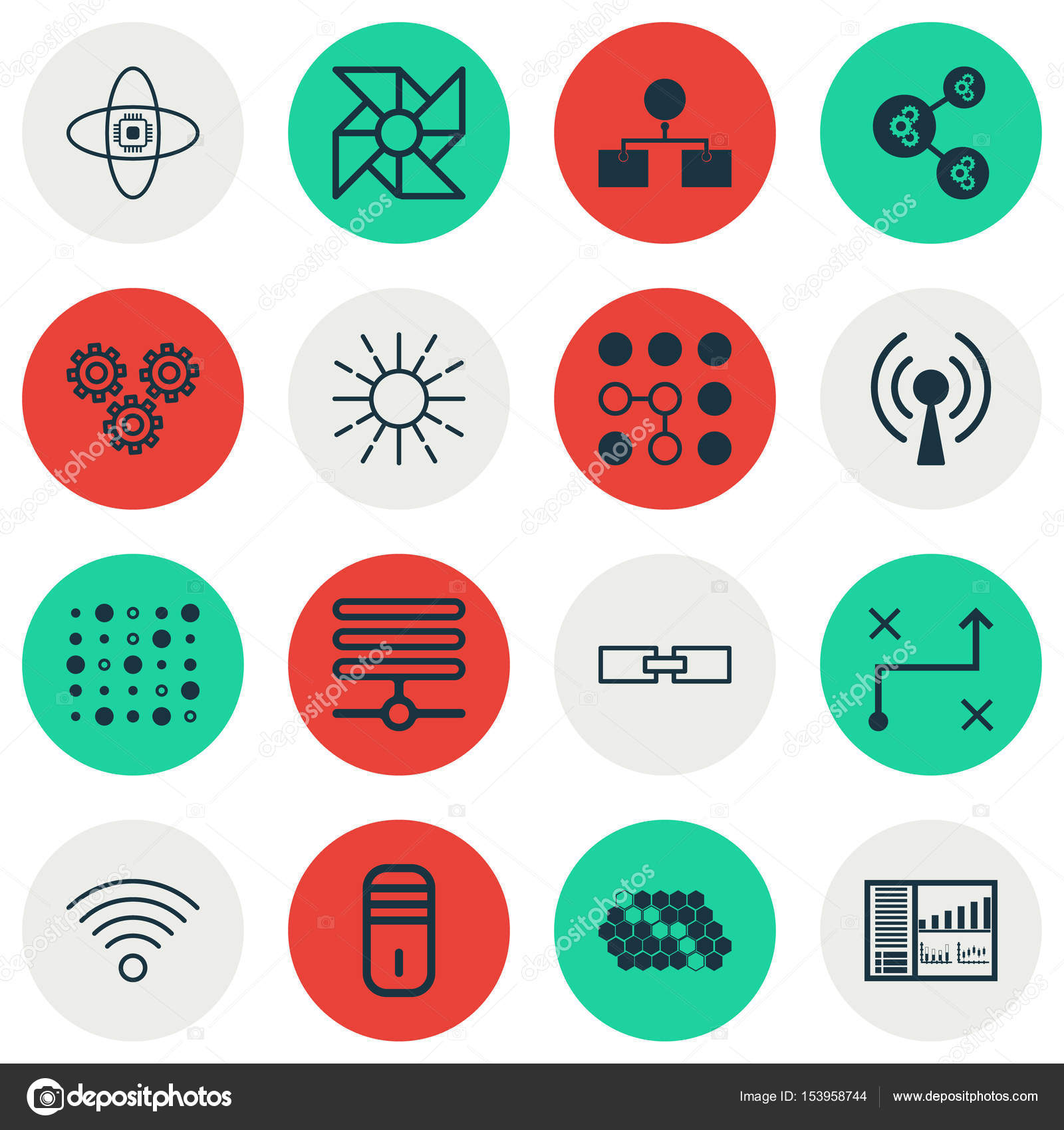 Set Of 16 Robotics Icons Includes Solution Wireless Communications