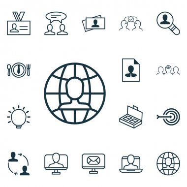 Set Of 16 Business Management Icons. Includes Cooperation, Cv, Cooperation And Other Symbols. Beautiful Design Elements.