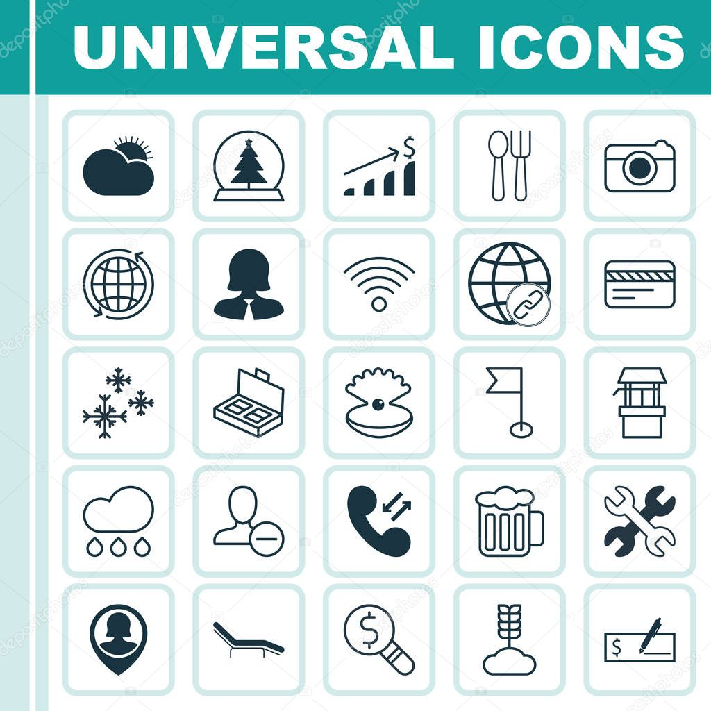 Set Of 25 Universal Editable Icons. Can Be Used For Web, Mobile And App Design. Includes Elements Such As Water Source, Street, Connectivity And More.