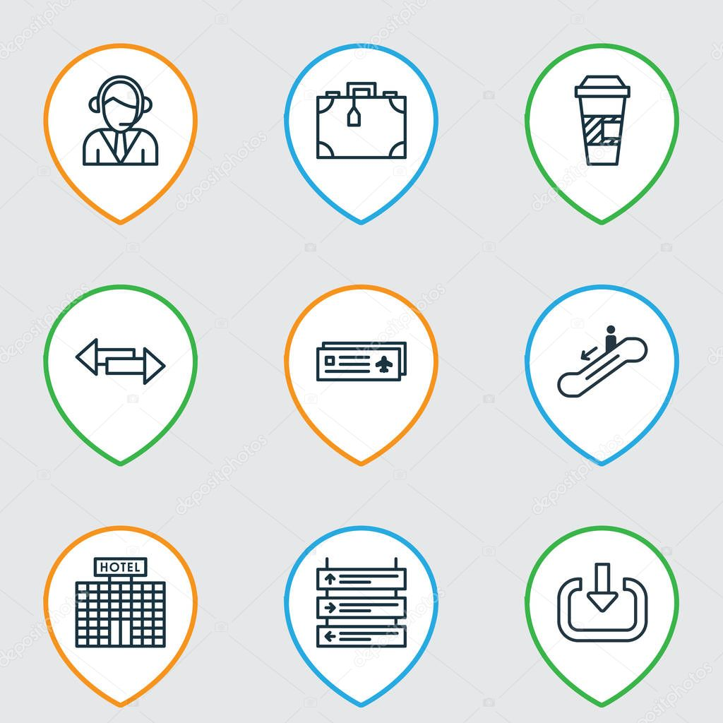 Set Of 9 Transportation Icons. Includes Crossroad, Suitcase, Operator And Other Symbols. Beautiful Design Elements.