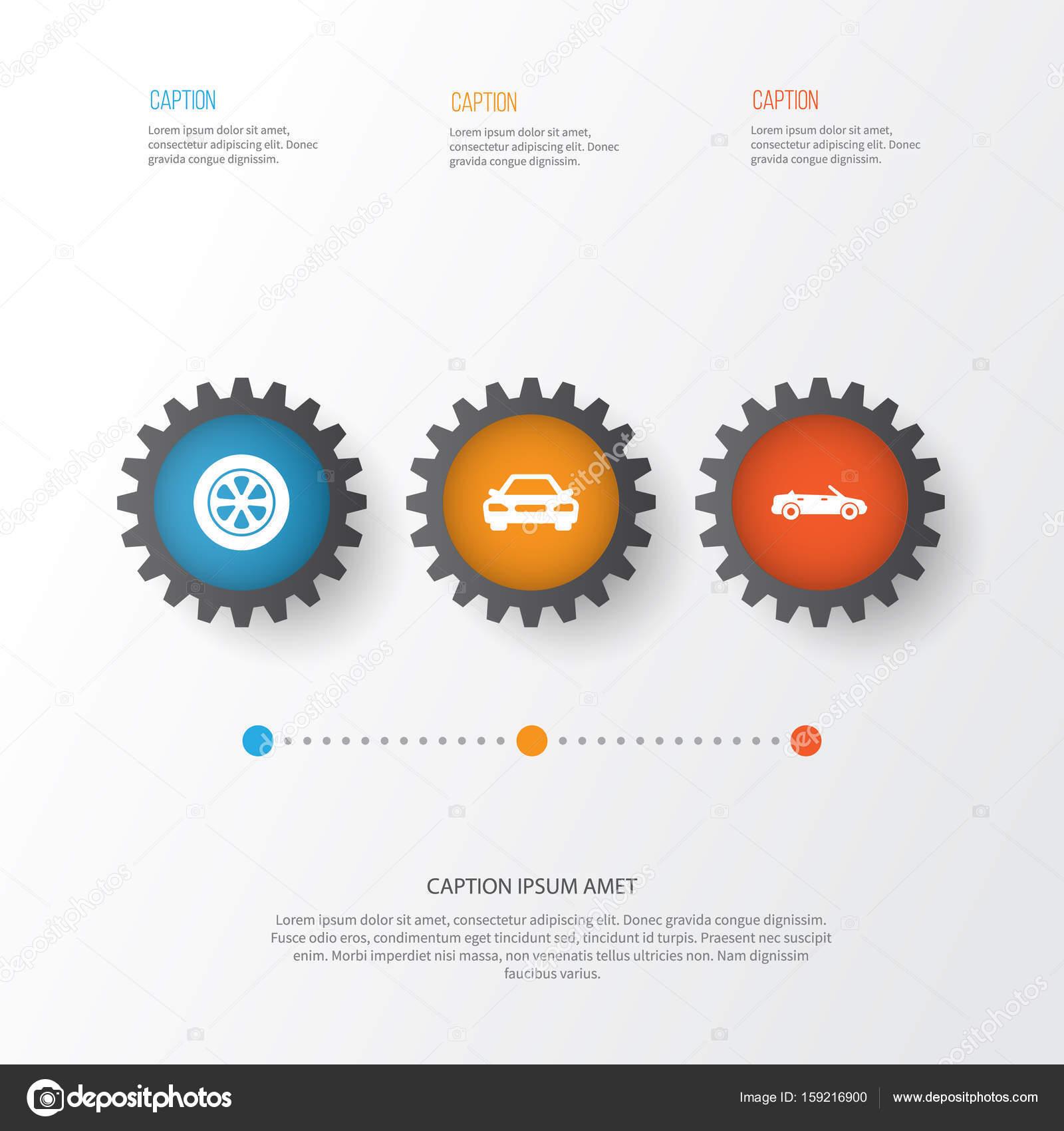 Auto Icons Set. Sammlung von Rad, Auto, Cabrio-Modell und andere ...