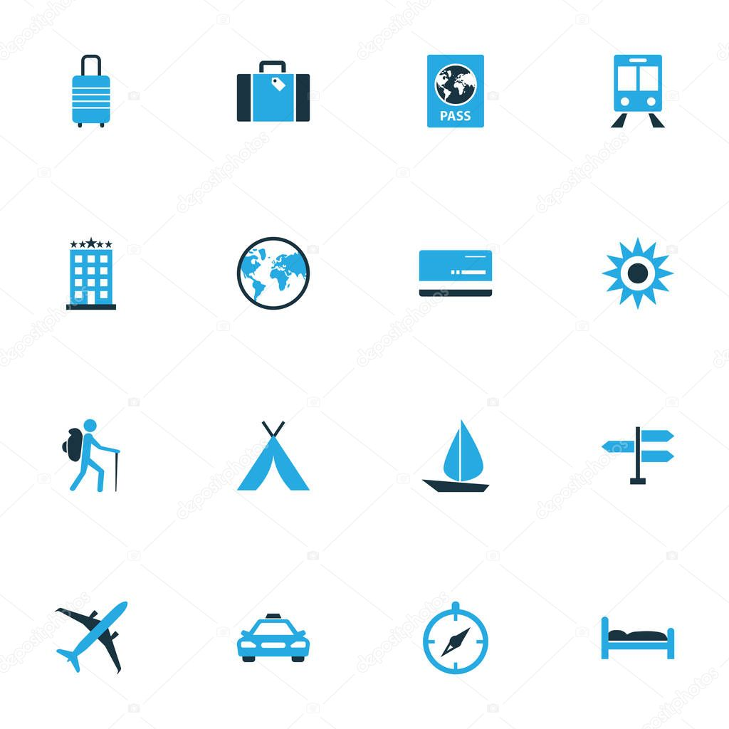 Journey Colorful Icons Set. Collection Of Sail, Bed, Baggage And Other Elements. Also Includes Symbols Such As Cab, Man, Boat.