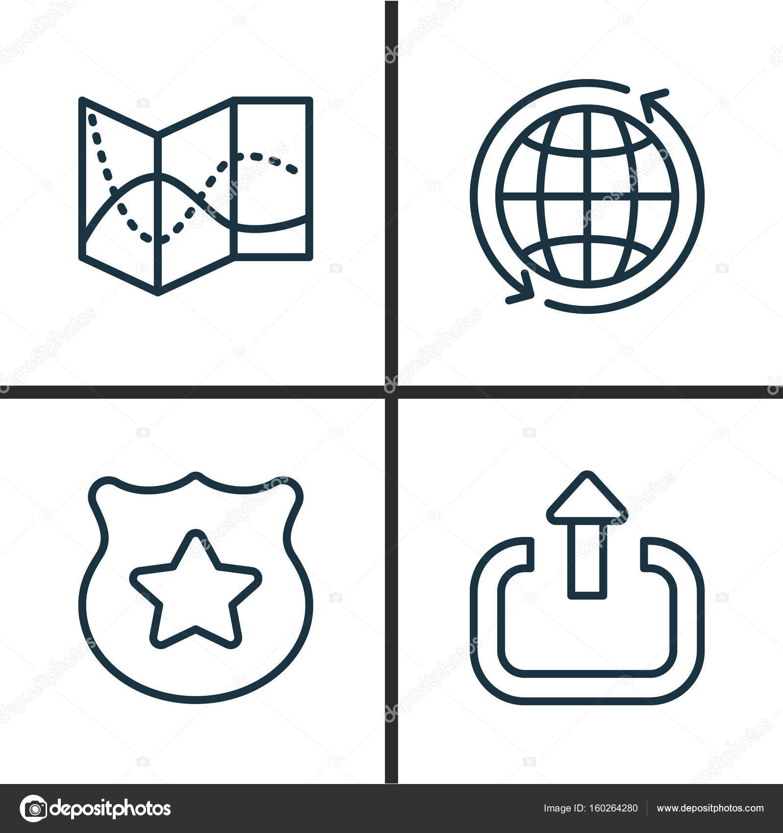 Transportation Icons Set Collection Of World Cop Symbol Road Map