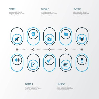 Audio Colorful Icons Set. Collection Of Headphone, Mute, Piano And Other Elements. Also Includes Symbols Such As Music, Microphone, Note.