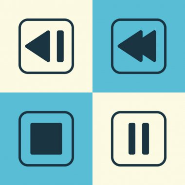 Audio Icons Set. Collection Of Stop Button, Mute Song, Last Song And Other Elements. Also Includes Symbols Such As Back, Pause, Media.
