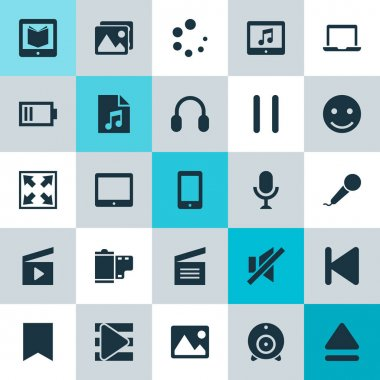 Music Icons Set. Collection Of Stop, Photo, Top And Other Elements. Also Includes Symbols Such As Mute, Phone, Photo.