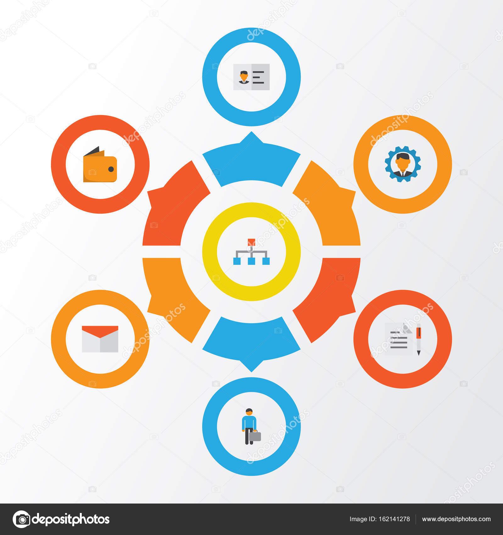 Business Flat Icons Set. Sammlung von Vertrag, Hierarchie, Umschlag ...