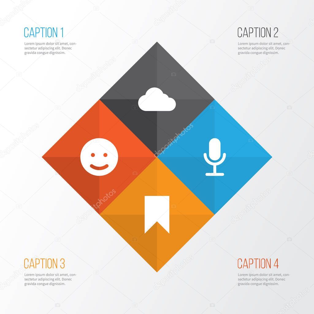 Media Icons Set. Collection Of Smile, Overcast, Video Chat And Other Elements. Also Includes Symbols Such As Flag, Microphone, Technology.