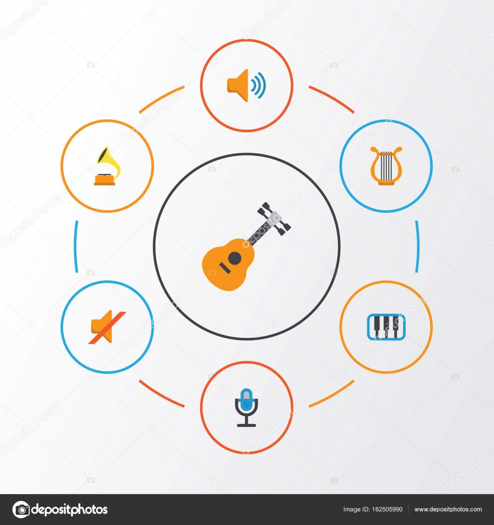 Music Flat Icons Set Collection Of Karaoke Audio Quiet And Other Diagram Symbools Microphone Elements