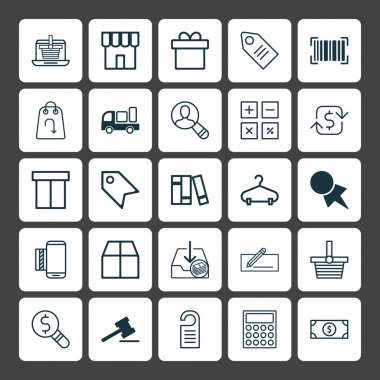 Ecommerce Icons Set. Collection Of Present, Mobile Service, Price Stamp And Other Elements. Also Includes Symbols Such As Barcode, Transfer, Hanger.