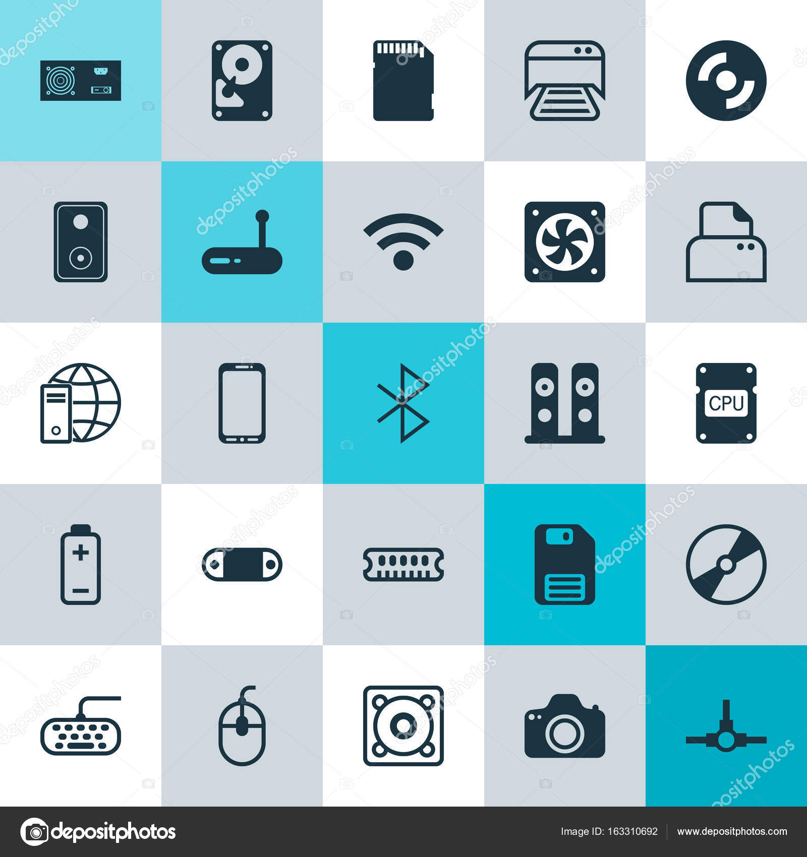 Computer Icons Set. Collection Of Wireless Connection, Audio Device ...