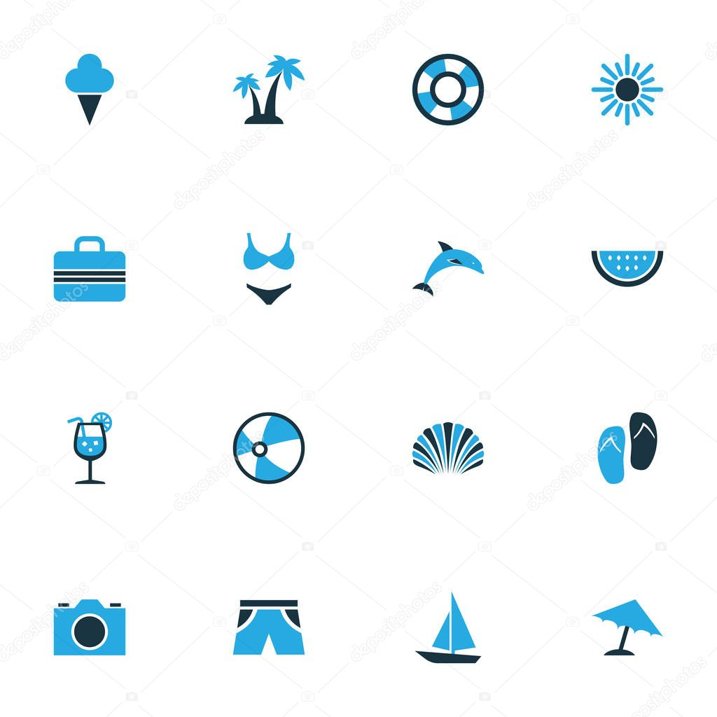 Sun Colorful Icons Set. Collection Of Sun, Camera, Watermelon And Other Elements. Also Includes Symbols Such As Sandals, Underwear, Suit.
