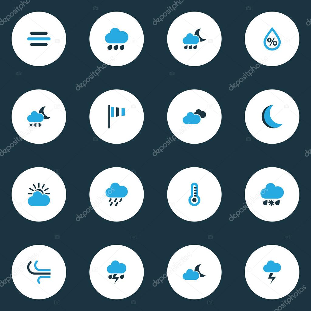 Air Colorful Icons Set. Collection Of Rainfall, Wind, Drizzle And Other Elements. Also Includes Symbols Such As Forecast, Overcast, Thunderstorm.