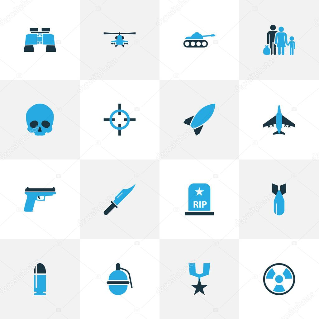 Combat Colorful Icons Set. Collection Of Tank, Refugee, Fighter And Other Elements. Also Includes Symbols Such As Aircraft, Sniper, Rifle.