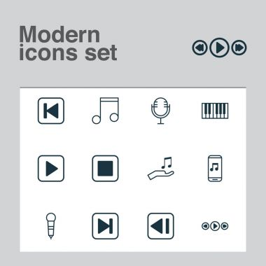 Audio Icons Set. Collection Of Mike, Microphone, Piano And Other Elements. Also Includes Symbols Such As Button, Forward, Donate.