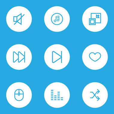 Media Outline Icons Set. Collection Of Mute, Forward, Heart And Other Elements. Also Includes Symbols Such As Quarter, Audio, Silence.