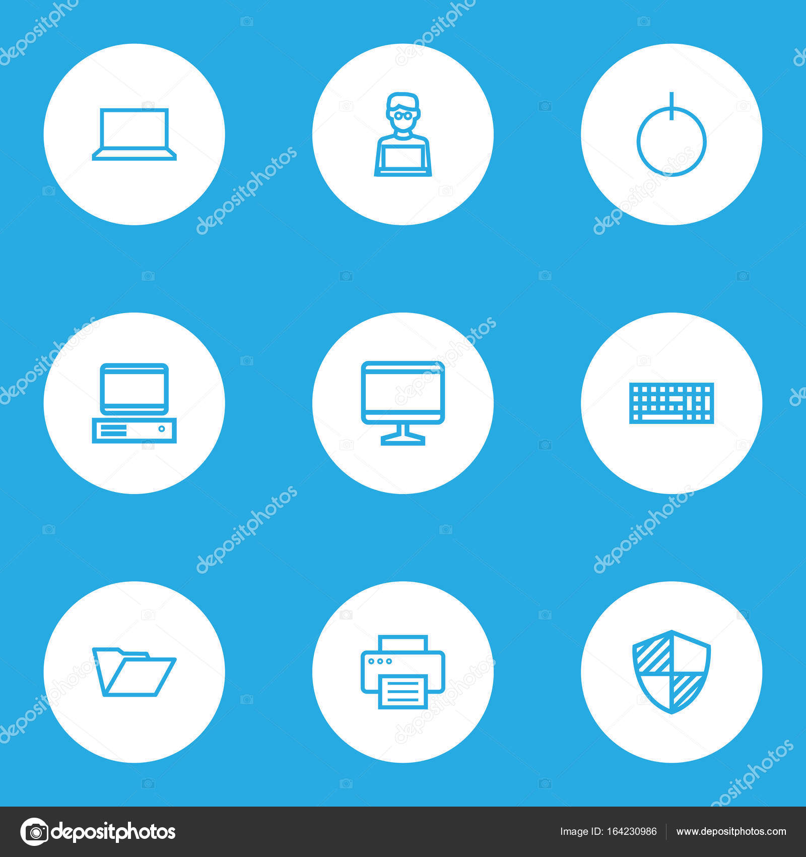 Hardware Outline Icons Set. Collection Of Notebook, File, Laptop And ...