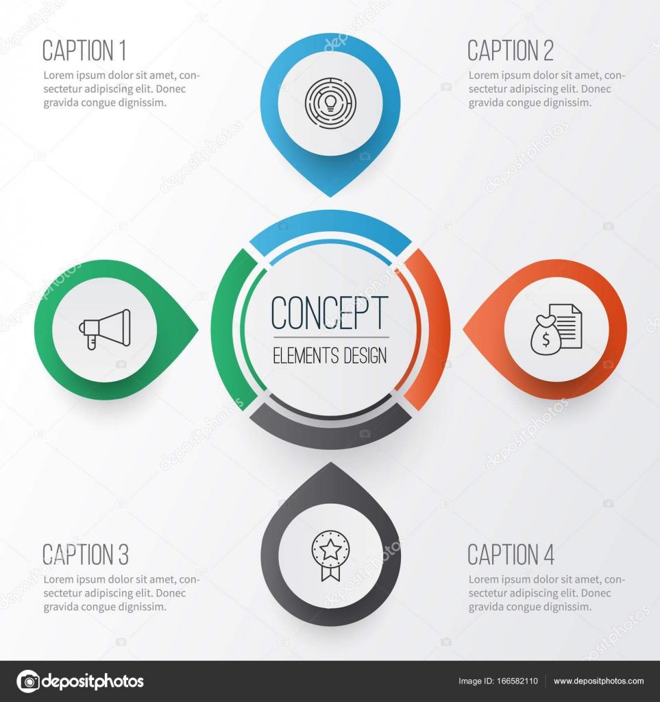 Projekt Icons Set. Sammlung von Ankündigung, Bericht, Innovation und ...