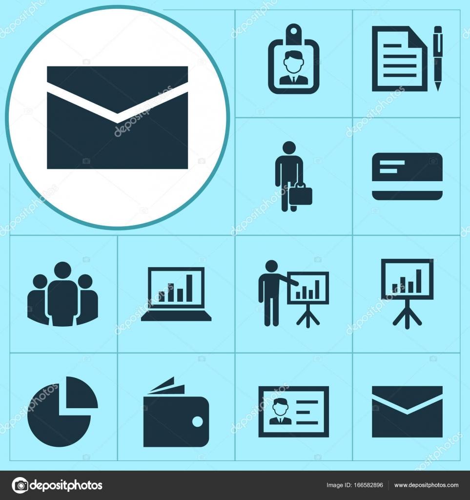 Business Icons Set. Sammlung von Vertrag, Präsentationstafel ...
